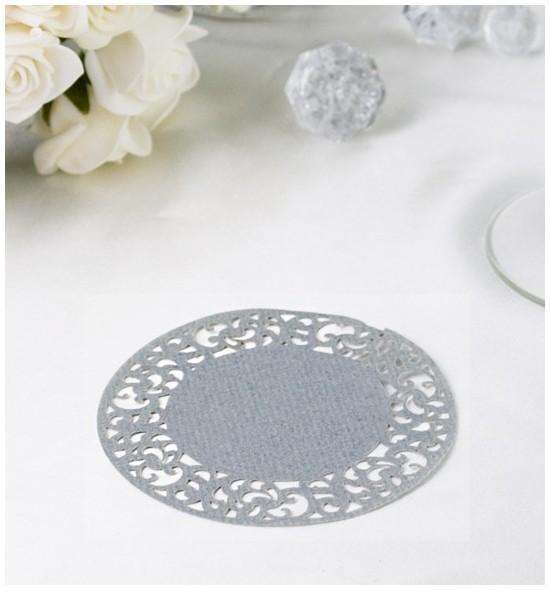 Papírová rozetka kovově stříbrná - ROZ117