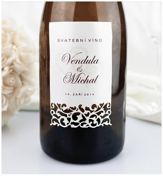 Etiketa na svatební víno - ETV977