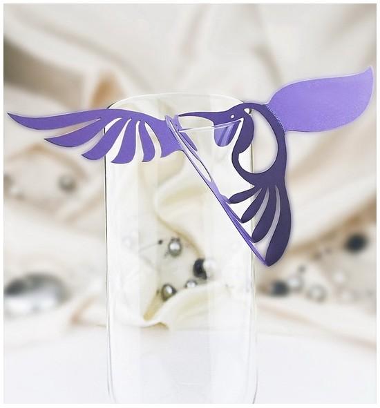 Dekorační ptáček na skleničku - PT213BT