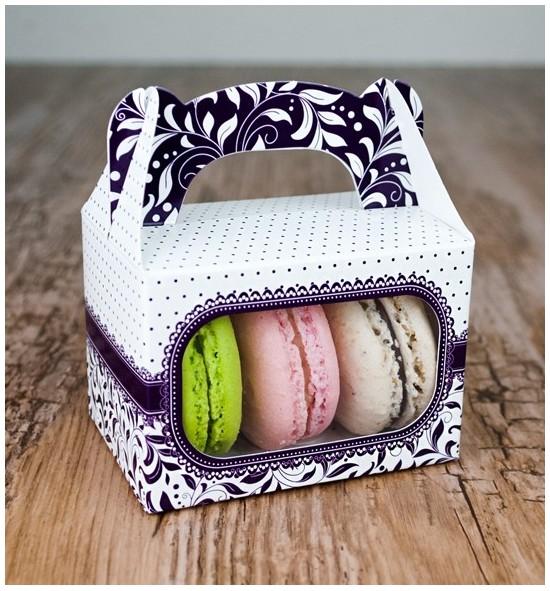 Svatební krabička na makronky - KMR1006