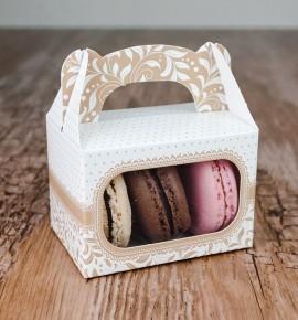 Svatební krabička na makronky - KMR1007