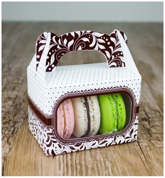 Svatební krabička na makronky - KMR1009