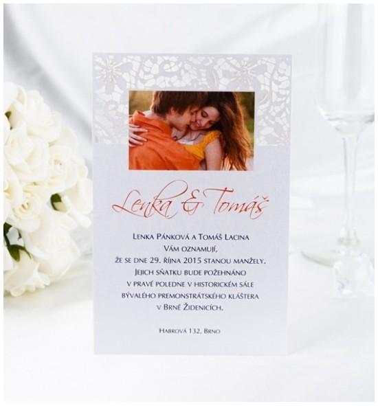 Svatební oznámení s fotografií - GF01B