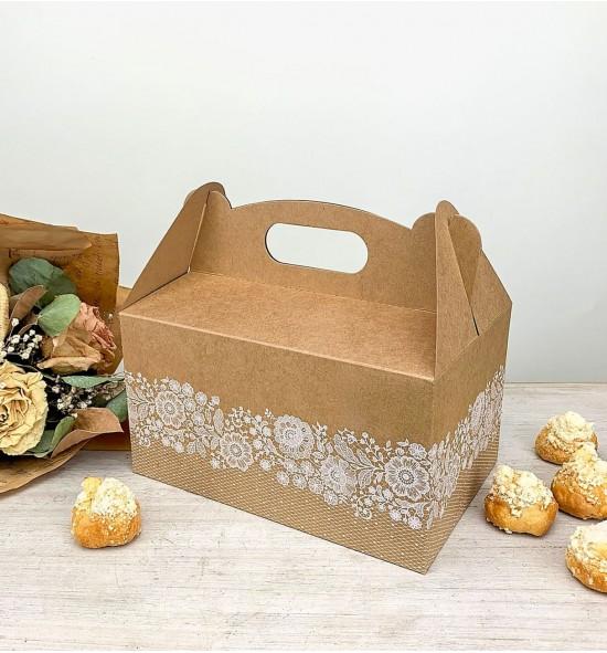 Svatební krabička na výslužku střední z recyklovaného papíru - K56-2168-10